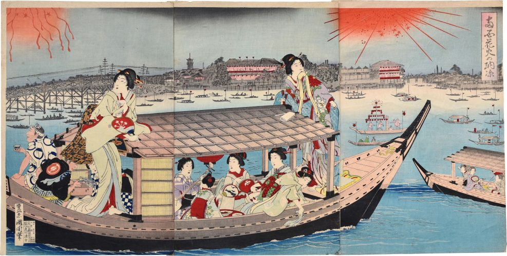Fireworks in an Evening Cool at Ryogoku by Toyohara Kunichika at