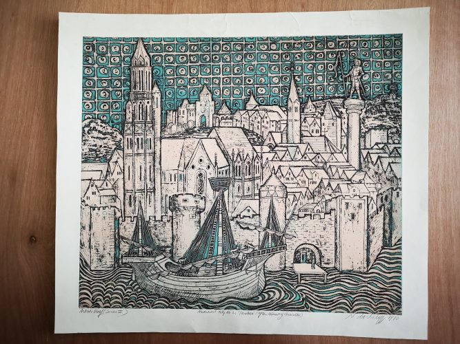 """Medieval City No. 2 """"Paritius"""" (after Nuremberg Chronicle 1493) by Natalie d'Arbeloff at"""