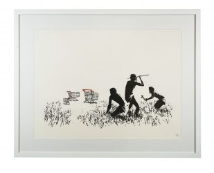 Trolleys (Black and White) by Banksy at Hidden