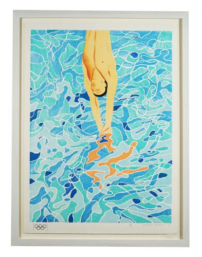 Limited edition hand signed lithograph for the 1972 Olympics by David Hockney at Hidden