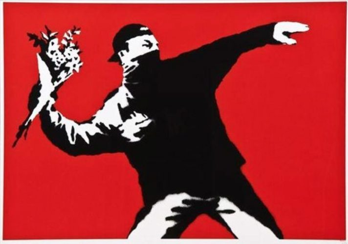 Love is in the Air by Banksy at
