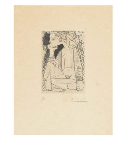 Femme assise en tailleur: Genevieve Laporte by Pablo Picasso at