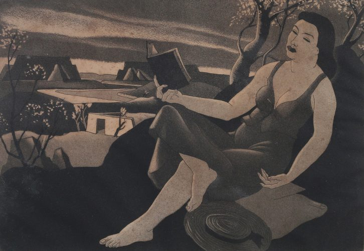 Woman Reading Under Tree by Doel Reed at