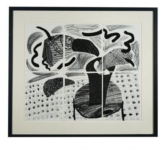 Black Plant on a Table by David Hockney at
