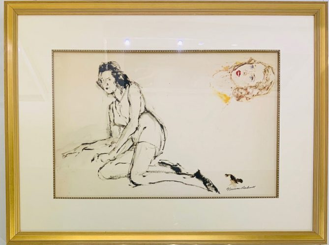 Untitled Study (Reclining Female & Portrait Study) by Norman Rockwell at