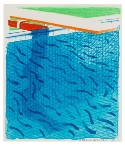 Pool Made with Paper and Blue Ink for Book by David Hockney at