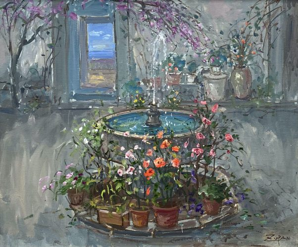Fountain in Spanish Patio by Bruno Zupan at