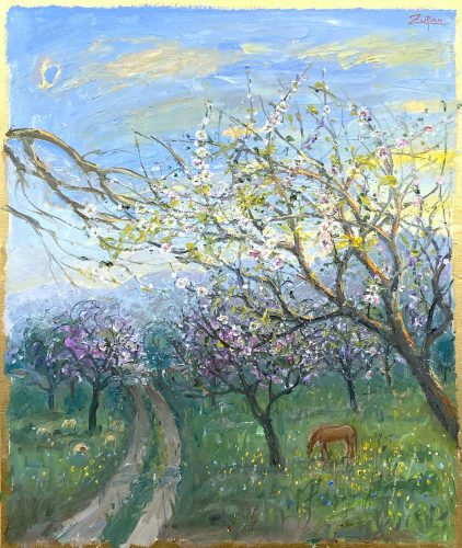 Almond Fields, Sheep and Horse by Bruno Zupan at