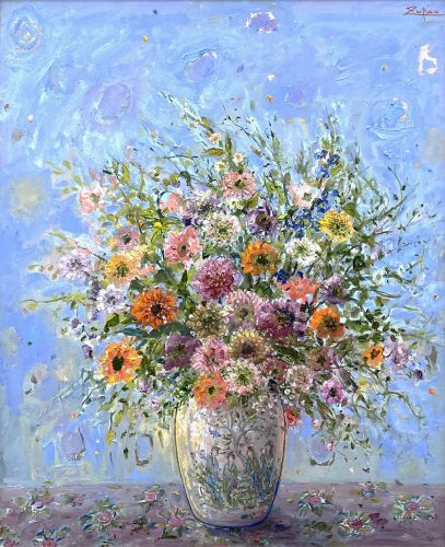 Bouquet in Chinese Vase, Light Blue Ground by Bruno Zupan at