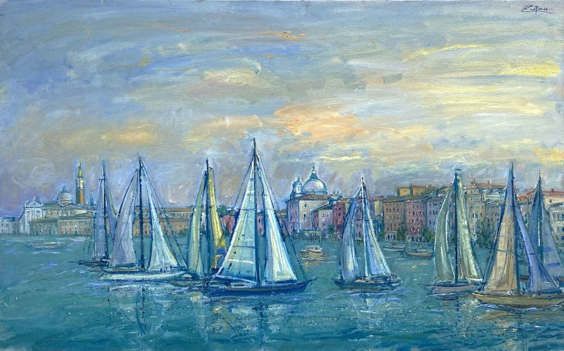 Sailboats in front of San Giorgio by Bruno Zupan at