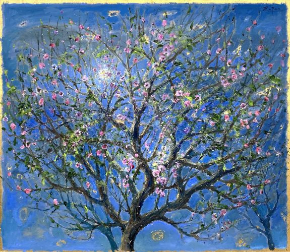 Almond Blossoms with Full Moon by Bruno Zupan at