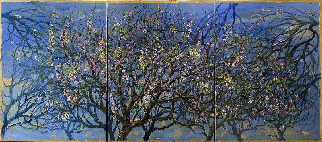 Triptych: Field of Almond Blossoms by Bruno Zupan at
