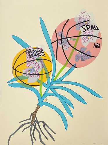 Double Basketball Orchid 2 – State I by Jonas Wood at