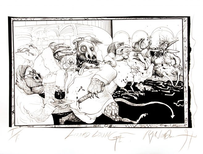 Large Lizard Lounge (Black). by Ralph Steadman at