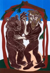 Dancing Bear by Eileen Cooper RA at Sims Reed Gallery (IFPDA)