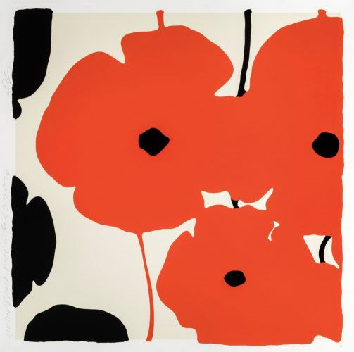 Red and Black Poppies, Feb 3, 2020 by Donald Sultan at