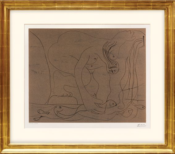 Femme nue pêchant des truites à la main. (Nude Woman Fishing for Trout by Hand.) by Pablo Picasso at