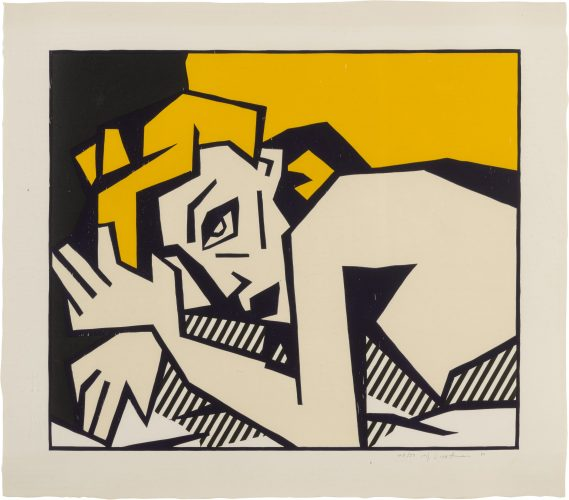 Reclining Nude, from Expressionist Woodcut Series 1980 by Roy Lichtenstein at