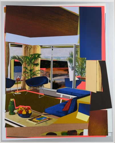 Interior: Blue Couch and Green Owl by Mickalene Thomas at
