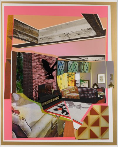 Interior: Fireplace with Blackbird by Mickalene Thomas at