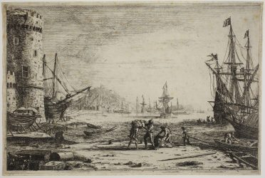 Harbour with a large tower by Claude Lorrain at