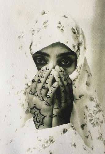 Identified from Women of Allah, 1995 by Shirin Neshat at FEUTEU