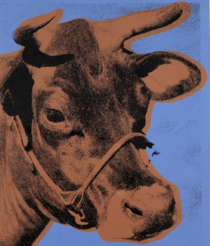 Brown Cow (Blue Background) by Andy Warhol at