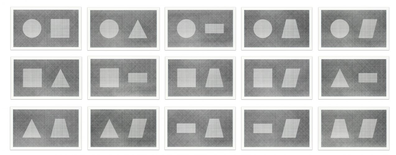 Six Geometric Figures & All Their Combinations (in pairs) by Sol LeWitt at