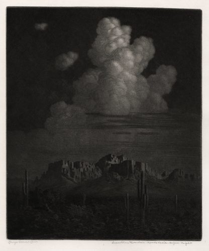 Superstition Mountain – Apache Trail, Arizona, Night (No. 2) by George Elbert Burr at