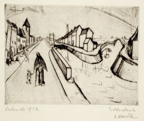 Zwei Kanäle (Kanal bei Ostende) (Two Canals (Canal by Ostende) by Erich Heckel at